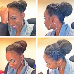Cute bun style with front braid