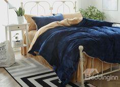 Dark Blue and Camel Flannel 4-Piece Duvet Cover Sets #bedroom #bedding