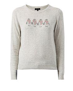 Pull gris à motif de Noël pingouin | New Look