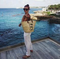 """Custom embroidered """"Crazy Sexy Cool"""" Poolside Bags Straw Beach Tote in Anguilla"""