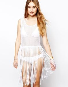 Image 1 of ASOS Crochet Fringed Beach Tank Dress