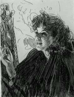 Girl with a Cigarette II / Anders Zorn