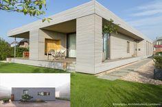 Modernes Wohnhaus mit einer grauen Massivholzfassade • Dura Patina Rhombusleiste, Kristallgrau • Architektur: Architekten, Kleve