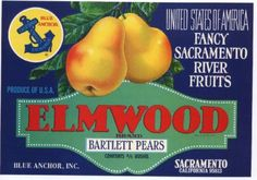 ELMWOOD Vintage Pear Crate Label(z)
