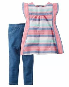 set 2 piezas verano carters algodon legging nena beba calza