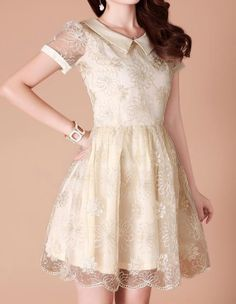 Beige Lapel Flower Embroidery Flare Dress - Fashion Clothing, Latest Street Fashion At Abaday.com
