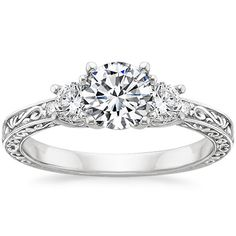 18K White Gold Antique Scroll Three Stone Trellis Ring (1/3 ct. tw.) from Brilliant Earth. Love! Perfect! WANT!