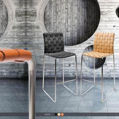 BOND Barstool - Braided leather w. chrome sledge base