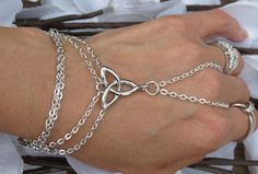 SALE Celtic Hand Chain Slave Bracelet Ring by TheMysticalOasisGlow