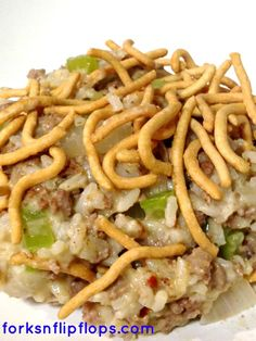 Chow Mein Hamburger Hot Dish  This is a classic hearty Minnesota Casserole aka Hot Dish. So yummy!