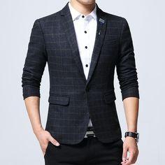 Casual Blazer, Blazers For Men Casual, Men Blazer, Casual Suit, Plaid Blazer, Casual Tops, Blazer Jacket, Fancy Suit, Blazer Fashion