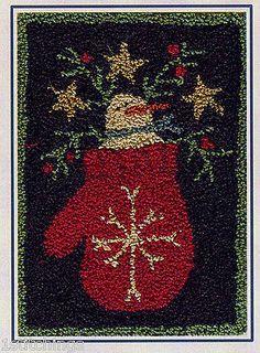 Snowflake-Punchneedle-Embroidery-Pattern-Punch-Needle-Snowman-Mitten