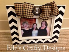 Elle's Crafty Designs - Fashionably Famous Frames - Custom  5x7 Black & White Chevron Frame with Embellished Black/Brown Plaid Burlap Bow on Etsy, $40.00