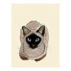 Seal point siamois chat art yeux bleus 83 X par matouenpeluche