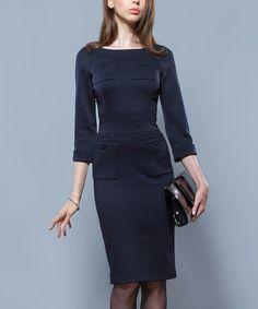 Look at this #zulilyfind! Navy Quad-Pocket Sheath Dress #zulilyfinds