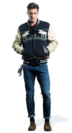 Feel super cool only by wearing the F&M varsity jacket with reindeers and leather contrasting sleeves. Combine it with a tartan shirt and a pair of Long Beach confort denim pants. Don't forget F&M warm jacquard gloves!