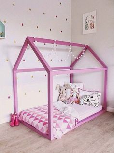 mommo design: HOUSE BEDS, just add string lights and some fabric for the rof :) Little Girl Rooms, Kid Spaces, Kid Beds, New Room, Girls Bedroom, Room Inspiration, Room Decor, Modern Playhouse, Playhouse Bed