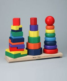 Little ones will enjoy hours of stacking fun with this colorful set, complete with 25 pieces of varying shapes and sizes for endless combinations. This fine-crafted toy helps build differentiation skills.