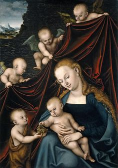 Madonna And Child With Saint John And Angels  Lucas Cranach the Elder