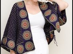 Crochet Coat, Knitted Poncho, Crochet Cardigan, Crochet Clothes, Crochet Round, Crochet Motif, Easy Crochet, Clothing Patterns, Knitting Patterns