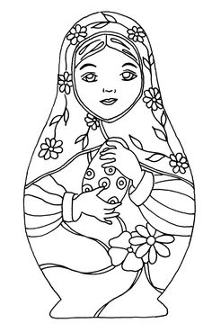 Discover our gallery of coloring pages inspired by Russian dolls. They are also called Matryoshka. Did you know that this decorative object appeared in the late century and was inspired by dolls from Honshu, the main . Adult Coloring Pages, Colouring Pages, Printable Coloring Pages, Coloring Books, Matryoshka Doll, Kokeshi Dolls, Embroidery Designs, Thinking Day, Russian Art