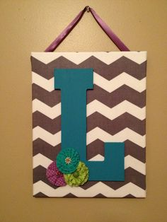 Chevron Canvas Initial Decor by DopfelDesigns on Etsy, $25.00 Initial Decor, Initial Art, Fun Crafts, Arts And Crafts, Canvas Art Projects, Chevron Fabric, Cute Christmas Gifts, Painted Paper, Wooden Letters