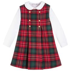 This useful red and green pinafore dress by Patachou is made in a beautifully soft, brushed cotton blend and has decorative gold buttons on the front that add a shiny, stylish touch. Fully lined in soft cotton for comfort, it comes with a white cotton blouse that has a pretty double collar. A useful, ready made outfit, both pieces can be worn with other items in girls wardrobes.