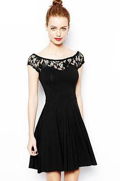 So CUTE! Black Lace A-line Lace O-neck Short Sleeve Party Dress #Black #Black_Lace #LBD #Party_Dress #Fashion