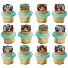 Jake and the Never Land Pirates Cupcake Rings (Pack of 12) | Jake and the Never Land Pirates Party Supplies - Discount Party Supplies