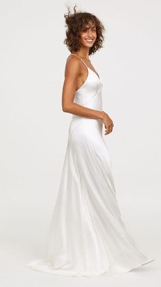A new online-exclusive H&M wedding dress collection has been released and it's got all you winter wedding brides sorted for the season. White Satin Dress, Satin Dresses, Prom Dresses, Gowns, Formal Dresses, Wedding Dresses, Evening Dresses, Short Dresses, Office Fashion Women