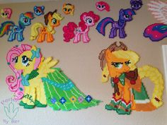 MLP Grand Galloping:Gala Fluttershy and Applejack original perler design by PerlerzByRex on deviantART