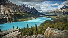 Kanada, Park Narodowy Banff, Góry Canadian Rockies, Jezioro Peyto Lake, Las, Chmury, Skały