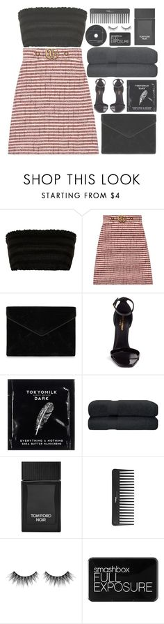 """gucci and gold (top set)"" by charli-oakeby ❤ liked on Polyvore featuring Gucci, Rebecca Minkoff, Yves Saint Laurent, TokyoMilk, Tom Ford, Sephora Collection, Huda Beauty, Smashbox, happy and love"