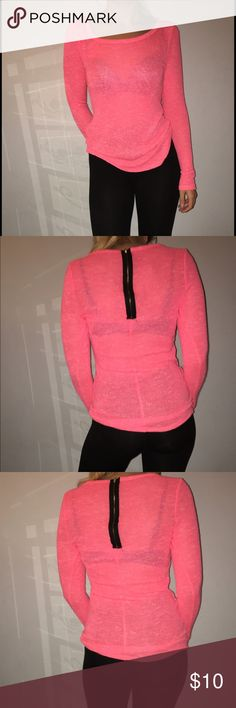 Hott pink Hot pink see through sweater shirt with black zipper on the back Charlotte Russe Tops