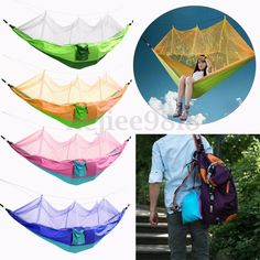 Parachute Fabric Hammock Hanging Bed W/ Mosquito Net For Outdoor Camping Travel