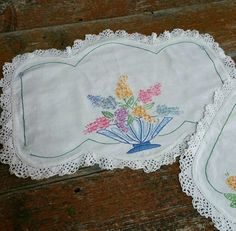 Vintage Embroidered Table Runner with Doily Set by EmptyNestVintage on Etsy