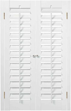 Home Decorating Online Tools Kitchen Window Coverings, Door Window Treatments, Window Shutters Exterior, Wood Shutters, Faux Wood Plantation Shutters, Home Renovation, Home Remodeling, Shutter Designs, Interior Design Institute