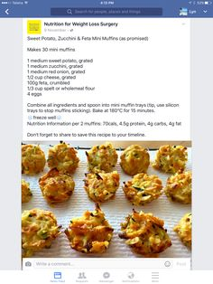 Sweet potato zucchini and feta mini muffins