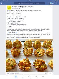 Sweet potato zucchini and feta mini muffins