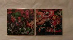 Marvel Comics Heroes and Villains Ceramic Tile Coasters Set of 2, Comic Book Art, Marvel Comics Amazing Spider-Man, Handmade by ComicBookCreations01 on Etsy