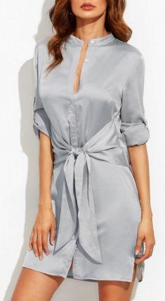 Roll Up Sleeve Tie Waist Split Dress -SheIn(Sheinside) Tie Dress, Collar Dress, Shirt Dress, Amai, Roll Up Sleeves, Day Dresses, Winter Dresses, Girls Dresses, Elegant Dresses