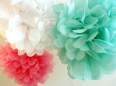 Coral and Aqua decor | ... color scheme. These coral and turquoise poms are from My Silly Bear