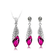 913ffa16b Signore-Signori Austrian Crystal 18k White Gold Plated Water Drop Jewelry  Set Earrings Pendant
