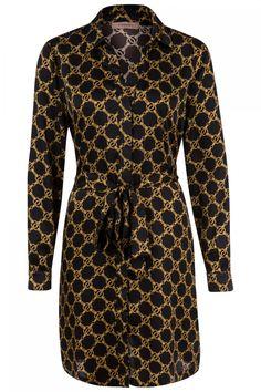 Twin Set Damen Blusenkleid mit Kettendesign Schwarz | SAILERstyle Twin Set, Pullover, Elegant, High Neck Dress, Dresses With Sleeves, Long Sleeve, Design, Fashion, Shirt Collars