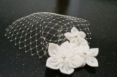 White Felt Flower Mini Birdcage Bachelorette Party Veil Hair Clip with Mini Veil Hair Accessory for Bridesmaids Shower or Engagement on Etsy, $27.99