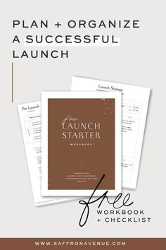 FREE Launch Starter Workbook and Checklist from Safron Avenue to help you plan and organize a successful product launch, website launch, brand launch or course launch. Business Advice, Business Planning, Online Business, Business Launch, Business Professional, Importance Of Time Management, Startup, Budgeting Finances, Blogging For Beginners