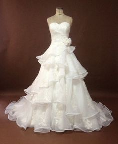 Layered Ruffled Appliqued Lace Sweetheart by IDoCoutureBridal