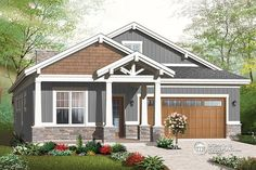 Nice Craftsman Bungalow with 3 bedrooms, 2,5 baths and 2-car garage. Also a large covered patio. Drummond House Plans no. 3240-ES  http://blog.drummondhouseplans.com/2014/01/27/new-craftsman-house-plans-great-amenities/