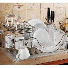 Two-Tier Convertible Dish Rack - if it's on display on your countertop, it should be stylish Toronto Apartment, Dish Racks, Kitchen Pantry, Kitchen Organization, Kids Meals, Convertible, Countertops, Shabby Chic