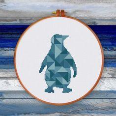 Geometric Penguin, modern animal counted cross stitch pattern